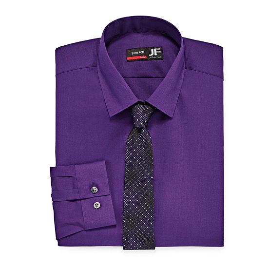 JF J.Ferrar Slim Fit Dress Shirt and Tie Set Mens Spread Collar Long Sleeve