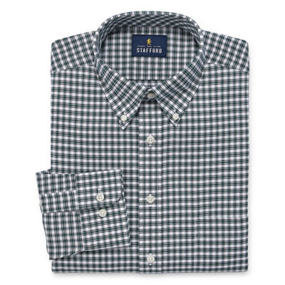 Stafford Travel Wrinkle Free Stretch Big And Tall Long Sleeve Oxford Plaid Dress Shirt