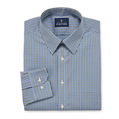 Stafford Comfort Stretch Big And Tall Long Sleeve Woven Checked Dress Shirt