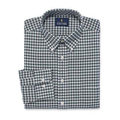 Stafford Travel Wrinkle Free Stretch Oxford Long Sleeve Plaid Dress Shirt