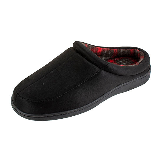 Stafford® Microsuede Clog Slippers with Plaid Lining