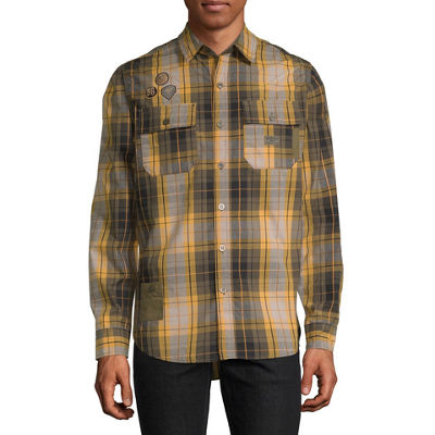 Parish Mens Long Sleeve Checked Button-Front Shirt