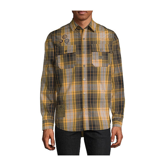 Parish Mens Long Sleeve Checked Button-Front Shirt