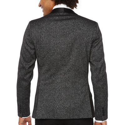 JF J.Ferrar Formal Stretch Charcoal Sparkle Super Slim Fit Sport Coat