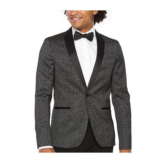 JF J.Ferrar Formal Stretch Charcoal Sparkle Super Slim Fit Sport Coat