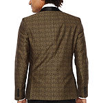 JF J.Ferrar Formal Stretch Gold Leopard Super Slim Fit Sport Coat