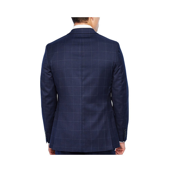 JF J.Ferrar Navy Mens Windowpane Stretch Slim Fit Suit Jacket