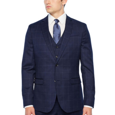 JF J.Ferrar Navy Mens Windowpane Stretch Slim Fit Suit Jacket