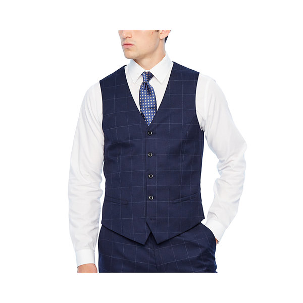 JF J.Ferrar Mens Windowpane Slim Fit Suit Vest