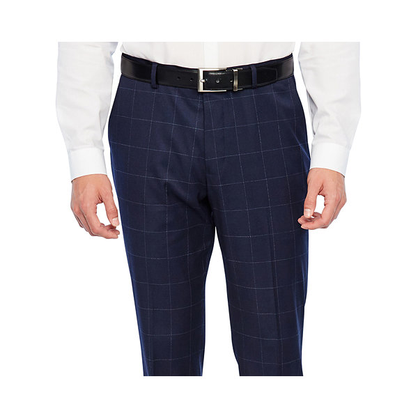 JF J.Ferrar Navy Mens Windowpane Stretch Slim Fit Suit Pants
