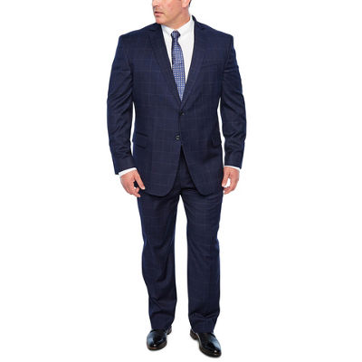 JF J. Ferrar Navy Windowpane Big and Tall Suit Separates