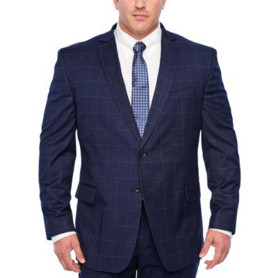 JF J.Ferrar-Big and Tall Windowpane Classic Fit Stretch Suit Jacket