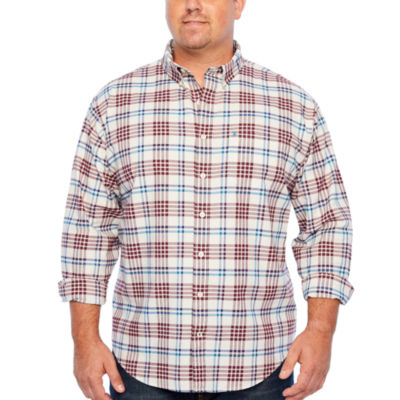 IZOD Ls Saltwater Newport Oxford Mens Long Sleeve Button-Front Shirt Big and Tall