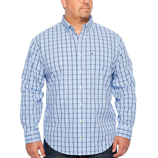 IZOD Ls Premium Essential Woven Long Sleeve Plaid Button-Front Shirt-Big and Tall