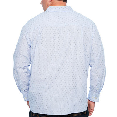 Van Heusen Never Tuck Woven Mens Long Sleeve Dots Button-Front Shirt Big and Tall