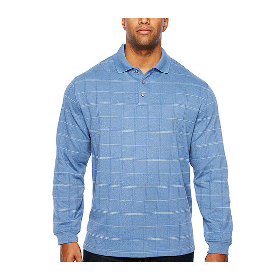 aad86cf3050 Van Heusen Long Sleeve Windowpane Knit Polo Shirt- Big and Tall - JCPenney
