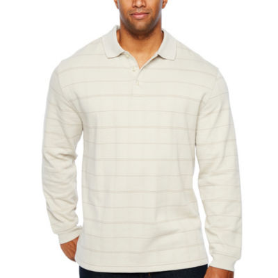 Van Heusen Long Sleeve Windowpane Knit Polo Shirt- Big and Tall
