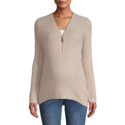 Planet Motherhood Zip Up Sweater - Maternity