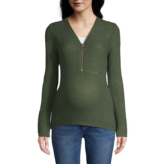 Planet Motherhood Zip Up Sweater - Maternity