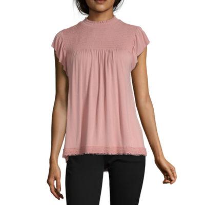 Rewind-Womens Boat Neck Short Sleeve T-Shirt Juniors
