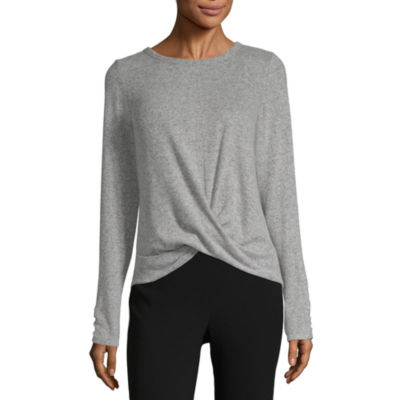 by&by Womens Round Neck Long Sleeve Sweatshirt Juniors