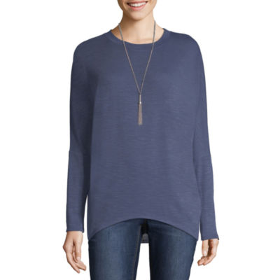 by&by Full Sleeve Crew Neck Knit Blouse-Juniors