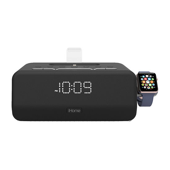 iHome iPLWBT5B Bluetooth Dual Alarm FM Clock Radio with Speakerphone and Apple Watch Charger