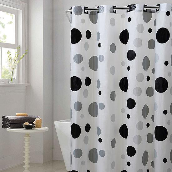 Hookless Brand Shower Curtain.Hookless Peva Retro Dots Hookless Shower Curtain