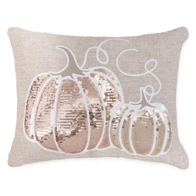 JCPenney Home Pumpkin Sequin Rectangular Throw Pillow