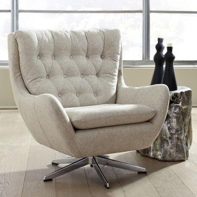 Signature Design by Ashley® Velburg Linen Weave Swivel Wingback Chair