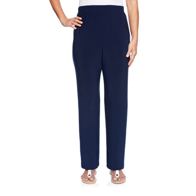Alfred Dunner Royal Street Womens High Waisted Wide Leg Pull-On Pants