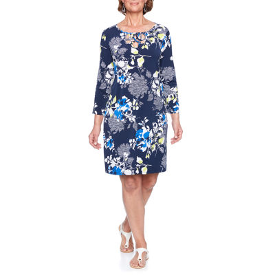 Alfred Dunner Royal Street 3/4 Sleeve Floral Shift Dress