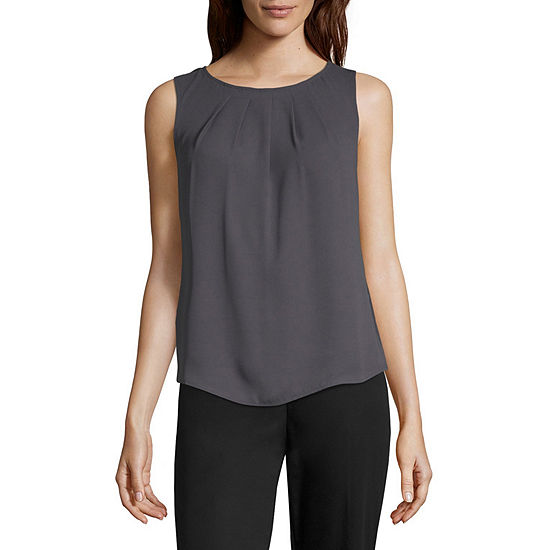 Worthington Womens Round Neck Sleeveless Blouse