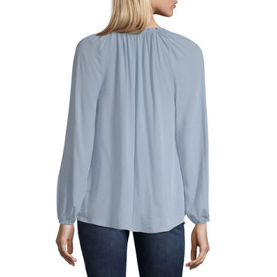 a.n.a Womens V Neck Long Sleeve Woven Bohemian Blouse
