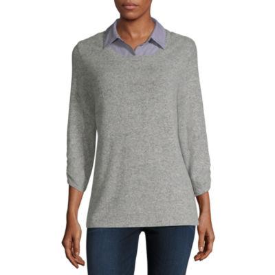 Alyx Womens Round Neck 3/4 Sleeve Knit Blouse