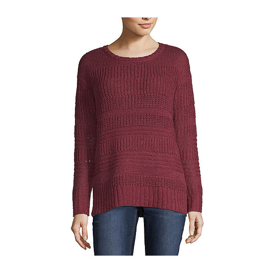 St. John's Bay Womens Crew Neck Long Sleeve Striped Pullover Sweater-Petite
