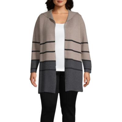 Alyx Long Sleeve Latte Charcoal Stripe Cardigan - Plus