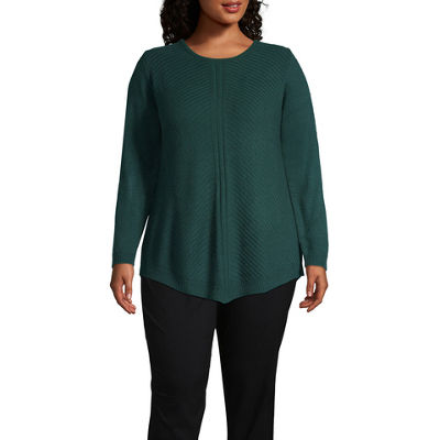 Alyx Long Sleeve Round Neck Pullover Sweater-Plus