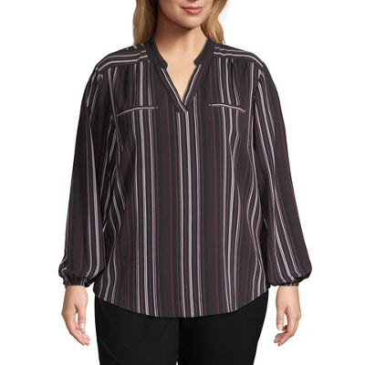 Alyx Long Sleeve V Neck Woven Blouse-Plus