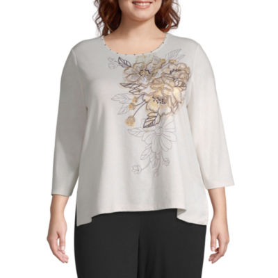 Alfred Dunner Travel Light Asymmetrical Floral Blouse - Plus