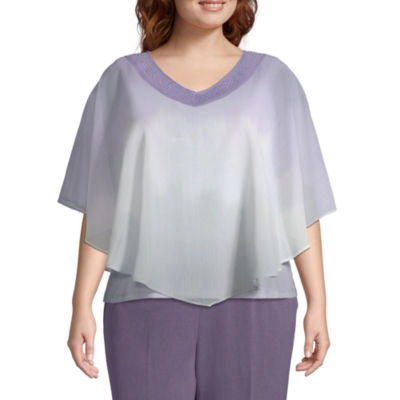 Alfred Dunner Smart Investments Ombre Overlay Blouse - Plus