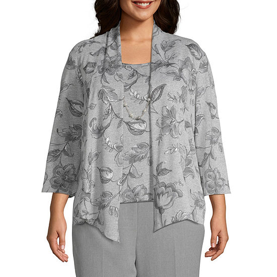 Alfred Dunner 3/4 Sleeve Round Neck Layered Sweaters-Plus