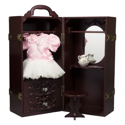 The Queen's Treasures 18 Inch Doll Mahogany Wardrobe Armoire Trunk