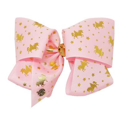 JoJo Siwa Signature Pink Gold Unicorns W Gold Keeper Bow