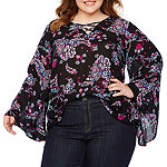 Boutique + Long Flare Sleeve Floral Top - Plus