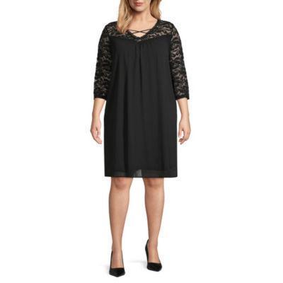 Worthington 3/4 Sleeve Lace Cross Front Dress - Plus