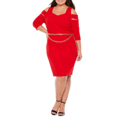 Bold Elements 3/4 Sleeve Cold Shoulder Bodycon Dress W / Belt - Plus