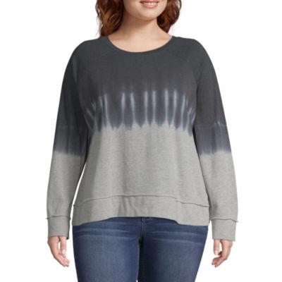 a.n.a. Long Sleeve Tie Dye Sweatshirt - Plus
