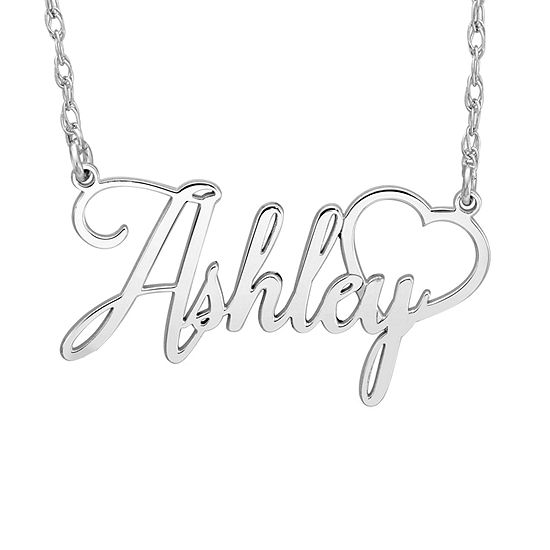 Personalized Womens 10K White Gold Pendant Necklace