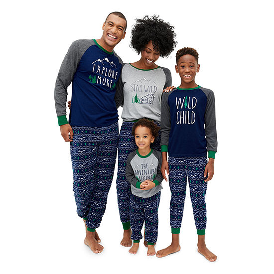 Holiday #Famjams Green and Navy Explore Family Pajamas